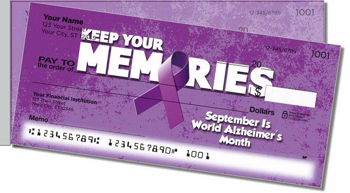 Alzheimers Awareness Side Tear Personal Checks