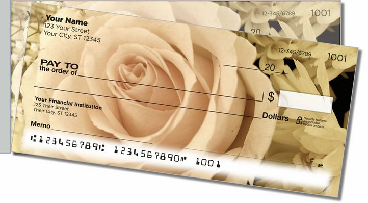 Beautiful Rose Side Tear Personal Checks