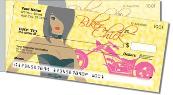 Biker Chick Side Tear Personalized Checks