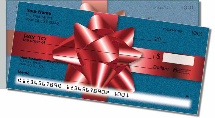 Christmas Bow Side Tear Personal Checks