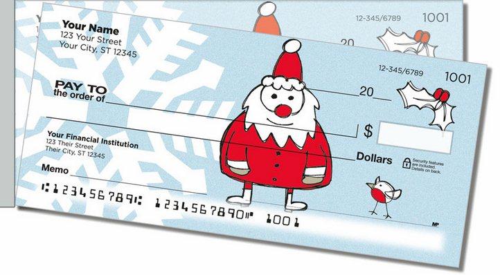 Christmas Doodle Side Tear Personal Checks