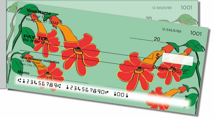 Hanging Flower Side Tear Personal Checks