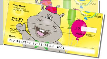 Happy Hippo Side Tear Personalized Checks