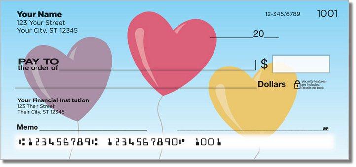 Heart Balloon Personal Checks