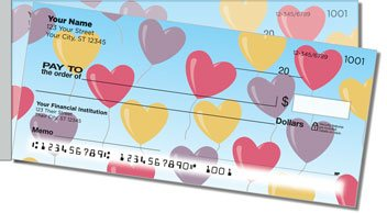 Heart Balloon Side Tear Personalized Checks