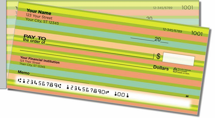 Horizontal Stripe Side Tear Personal Checks