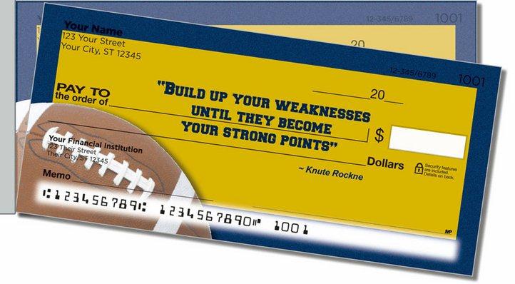 Knute Rockne Side Tear Personal Checks