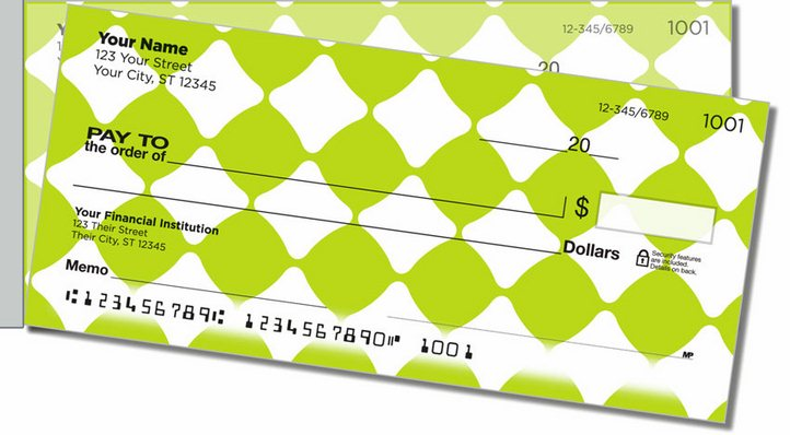 Lime Green Bead Side Tear Personal Checks