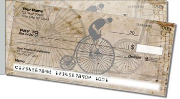 Vintage Bicycle Side Tear Personalized Checks