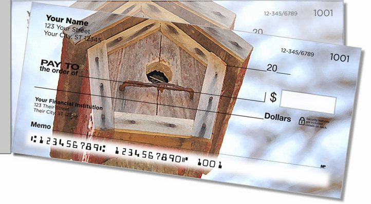 Wooden Birdhouse Side Tear Personal Checks